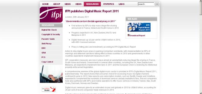 IFPI: GLOBAL TOP 10 DIGITAL SINGLES