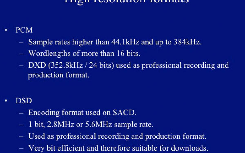 THE FUTURE OF HIGH-RESOLUTION COMPUTER BASED AUDIO