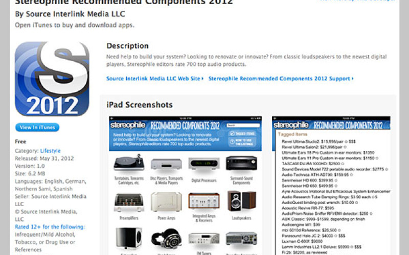 STEREOPHILE RECOMMENDED COMPONENTS 2012